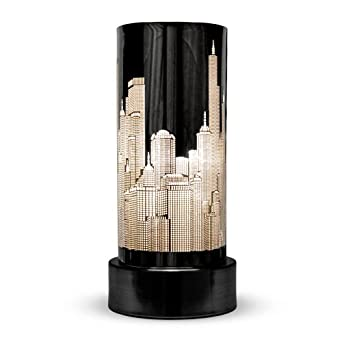 Gloss black touch bedside table lamp with new york skyline shade lighting - Black touch lamps bedside ...