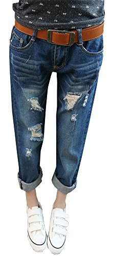 цены AnVei-Nao Womens Girls Ripped Stripe Jeans Casual Denim Slim Capri Pants Trouser