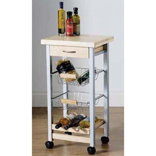 WORKER - 4 Tier Wood Kitchen Trolley - Silver / Birch