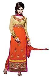 A G Lifestyle Orange Georgette Straight Fit Semi Stitched Salwar Suit CLS17003