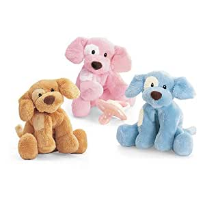 Amazon.com : Spunky Rattles Adorable Plush Puppy - Pink, Blue, Tan