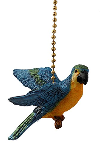 Blue Parrot Macaw bird Resin Ceiling Fan Pull chain extender