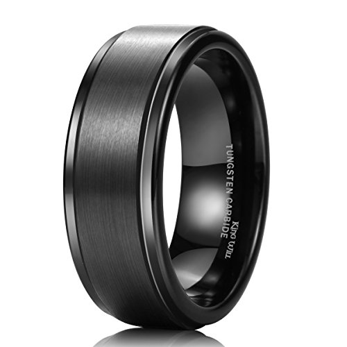 King Will 8mm Black High Polish Tungsten Men's Wedding Ring Comfort Fit Matte Finish Engagement Band (Black Platinum Ring compare prices)