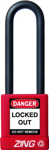"Zing Recyclock Lockout/Tagout Padlock, Keyed Different, 1-3/4"" Body Length, 3"" Shackle Clearance, Red (Pack Of 1)"