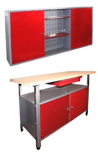 Werkstatteinrichtung-Ordnungssystem-bestehend-aus-einer-Werkbank-und-einem-Werkstattschrank