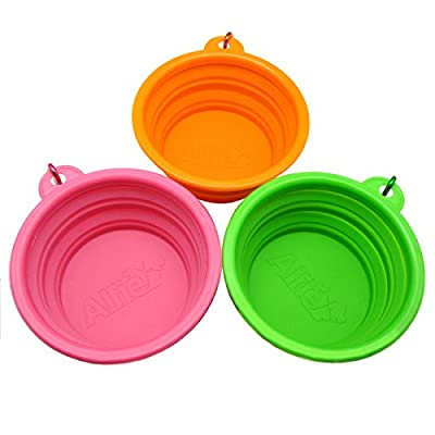 Alfie Pet by Petoga Couture - Set of 3 Rosh Silicone Pet Expandable/Collapsible Travel Bowl with Carabineer for Leash - Size: 1.5 Cups