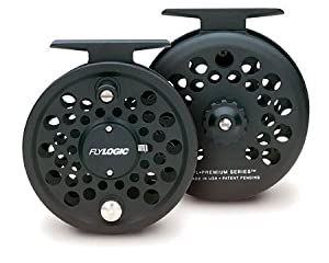 Fly Logic Premium Series Fly Fishing Reel FLP345/C 3 - 4 - 5 Line Weight Aluminum Disc Drag Flyreel Made In USA - Charcoal Color
