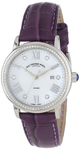 Raymond Weil Women's 2637-SLS-00966 Maestro Steel Case Leather Strap Automatic Diamond Bezel and Mother-Of-Pearl Dial Watch