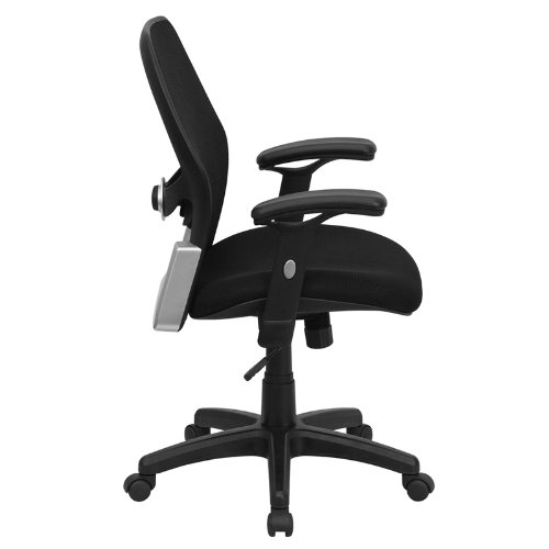 Flash Furniture LF W42B GG Mid Back Super Mesh Office Chair With Black Fabric