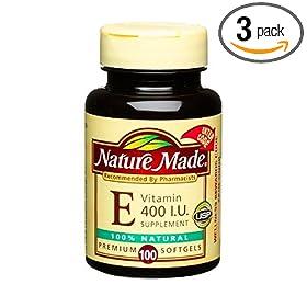 (维E)Nature Made Natural Vitamin E 400IU天然维E软胶囊300粒SS后$27.63,