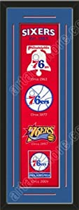 Heritage Banner Of Philadelphia 76ers With Team Color Double Matting-Framed Awesome... by Art and More, Davenport, IA