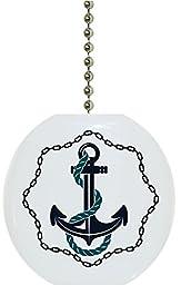 Carolina Hardware and Decor 2321F Anchor with Chain Border Nautical Solid Ceramic Fan Pull