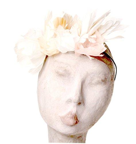 Nanà Firenze,Cerchietto decorato con piume di origine naturale, la composizione sul cerchietto raffigura fiori
