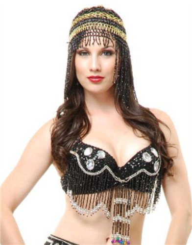 Black Beaded Harem Girl Belly Dancer Egyptian Costume Headpiece