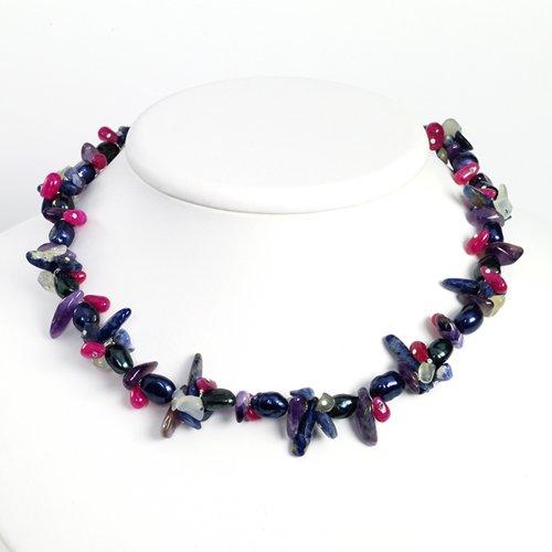 Sterling Silver Amethyst/Fluorite/Lapis/Grn&Prpl Pearl/Strwbrry Quartz Necklace - 16 Inch