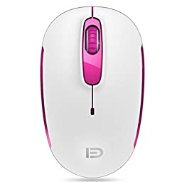 SROCKER V2c 2.4GHz Wireless Mouse Silent Click Compact Soundless Optical Mice with Nano USB Receiver DPI 1600 for PC and Mac(Pink)
