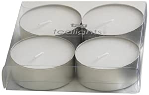 Tag 410008 Set of 4 Jumbo Tealights High Quality Long Burntime Pillar Candle, White