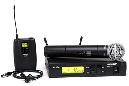 Shure Ulxs124/85-G3 Wireless Combo Microphone System, Includes Ulxs4 Receiver, Ulx1 & Ulx2 Transmitter With Sm58 Mic, Wl-185 Mic, G3/470-505 Mhz