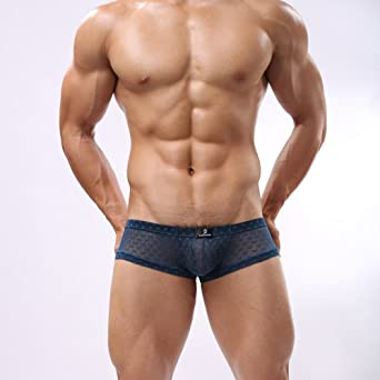 Dominik See-through Mess Hipster Boxer Trunks (OPH4122) (S, Deep Blue)
