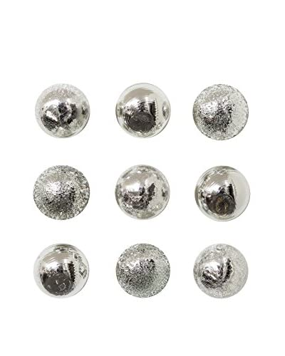 Worldly Goods Set Of 9 Glass Wall Spheres Silver White