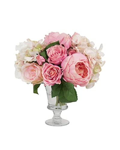 Creative Displays Assorted Rose And Hydrangea Bouquet, Pink/Crème/Green