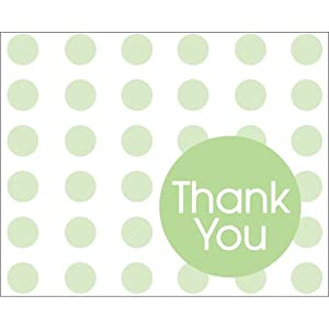 Creative Converting Baby Shower Green Dots 8 Count Thank You Cards