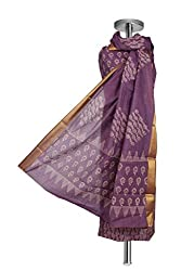 Lavender Hand block printed Handwoven Chanderi Cotton Suit Fabric