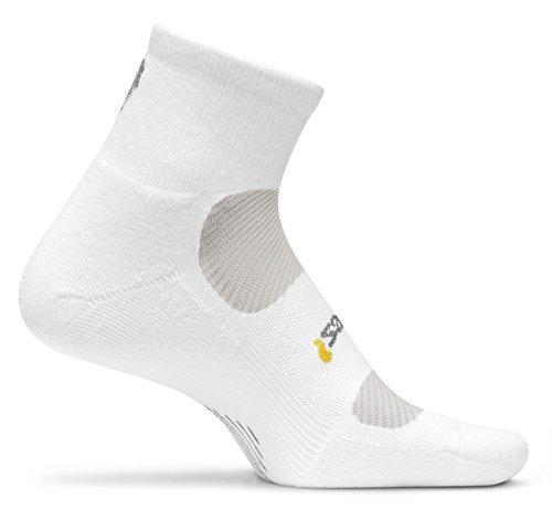 Feetures Women'S Light Cushion Quarter Socks, Small (4-6.5), White
