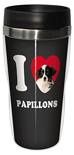Tree-Free Greetings SG25094 I Heart Papillons Sip 'N Go Stainless Lined Travel Tumbler, 16-Ounce, White and Black