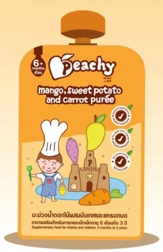 Peachy Baby Food Mango, Sweet Potato And Carrot Puree For 6 Month Infants, Baby And Children Upwards 110G. (3.8 Oz.)