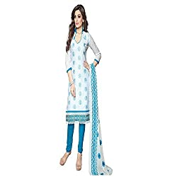 Varsha Women's Unstitched Dress Material (White_Free Size)