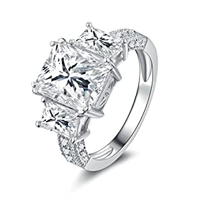 AmDxD Jewelry Silver Plated Women Customizable Rings Big Square Shape with CZ Size 5.5,Engraving