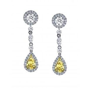 6.24ct tw Fancy Yellow Diamond Earring 7.20gr of solid 18k gold
