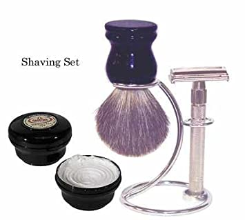 Safety Razor Shave Set – Includes Pure Badger Brush, Stand & Heavyweight Butterfly Open Safety Razor