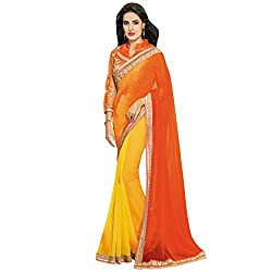 Vishal Yellow and Orange Chiffon Heavy Embroidery work on Saree and Blouse Saree