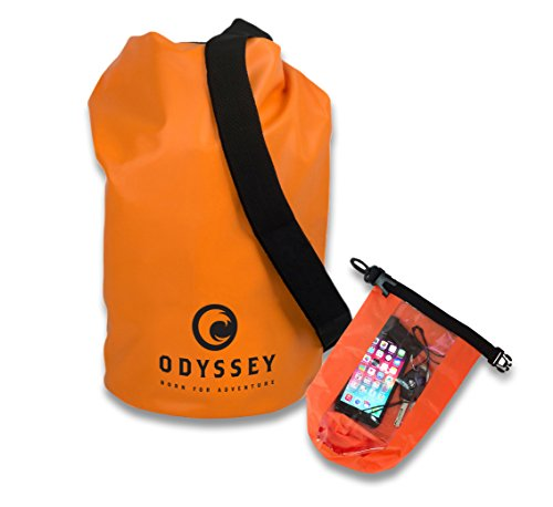 Orange Waterproof Dry Bag (10L) by Odyssey, with Shoulder Strap