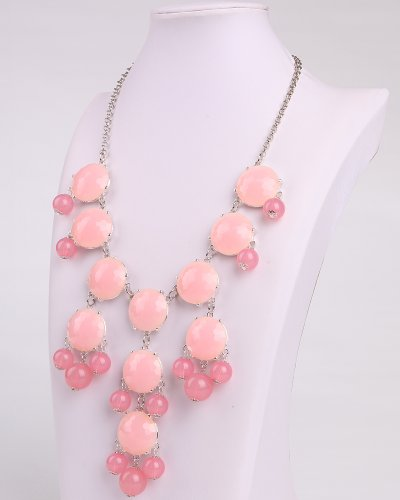 Pink Necklace, Bubble Necklace, Silver Chain Necklace, Statement Necklace (Fn0508-S-F) (B)