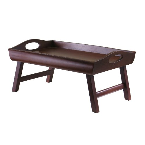 Great Deal! Winsome Wood Sedona Bed Tray Curved Side, Foldable Legs, Large Handle