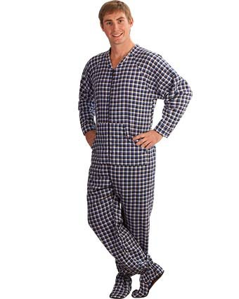 PajamaCity Black and Blue Gingham Plaid Cotton Flannel Adult Footie Pajamas Size 7 (5'10