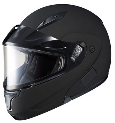 HJC CL-Max 2 Solid Bluetooth Ready Modular Snowmobile Helmet with Dual Lens – Matte Black, Medium