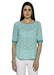 Funk For Hire Women Cotton Cambric Kite printed Pleated Top (Ice Mint, Size M)