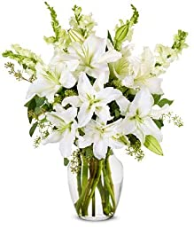 From You Flowers - Elegant White Lilly Arrangement (Free Vase Included)