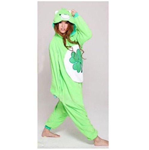 Adult Women'S Lady Cartoon Fleece Green Bear Pyjamas Pajamas (Size S) front-832623