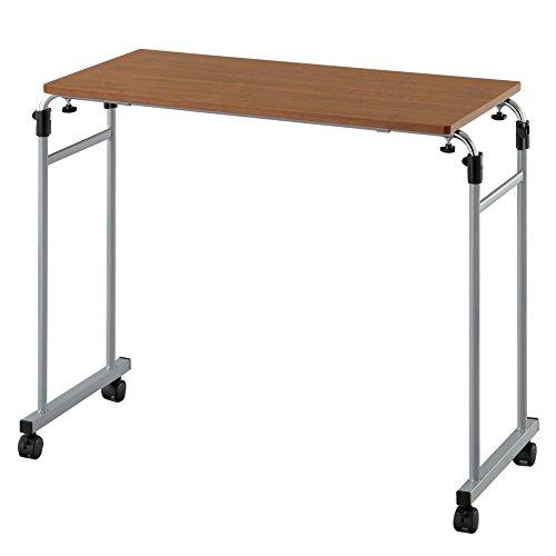 ベッドテーブル サイドテーブル ナイトテーブル 昇降式 介護テーブル 補助 木製 ロングタイプ ブラウン