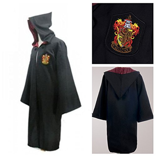 Harry Potter School Acceptance Letter London To Hogwarts Tickets Gryffindor/Slytherin/Ravenclaw/Hufflepuff Adult Chlidren Robe Tie Harry Potter/Hermione/Dumbledore/Ron Led Magic Wand (Free Tattoo) (Gryffindor Adult Robe M)