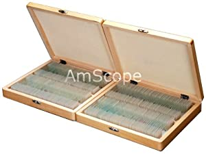 200pc Student Basic Science Prepared Microscope Slides with Wooden Case