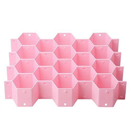 Great Value Desk Accessories Honeycomb Type Drawer Clapboard Pink