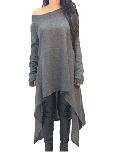 Women Grey Asymmetrical Sweater Dress Long Sleeve Knitwear (UK 14-16, Grey)
