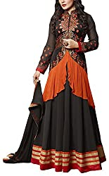 Sara Fashion Women's Georgette Unstitched Dress Material (Black and Orange)