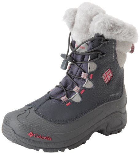 Columbia Girls YOUTH BUGABOOT II OMNI-HEAT Snow Boots Gray Grau (Grill, Bright Rose 028) Size: 13 (32 EU)